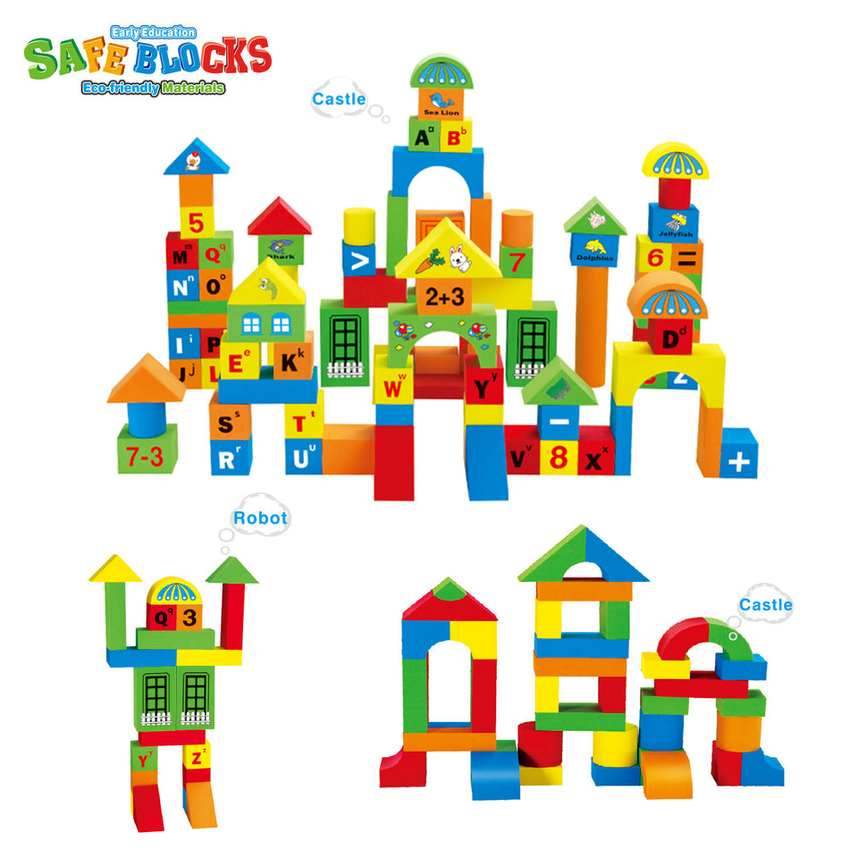 108 PCs Foam Building Blocks for Kids, EVA Foam Blocks with Alphabet and Number, Creative Educational Stacking Blocks, Non Toxic