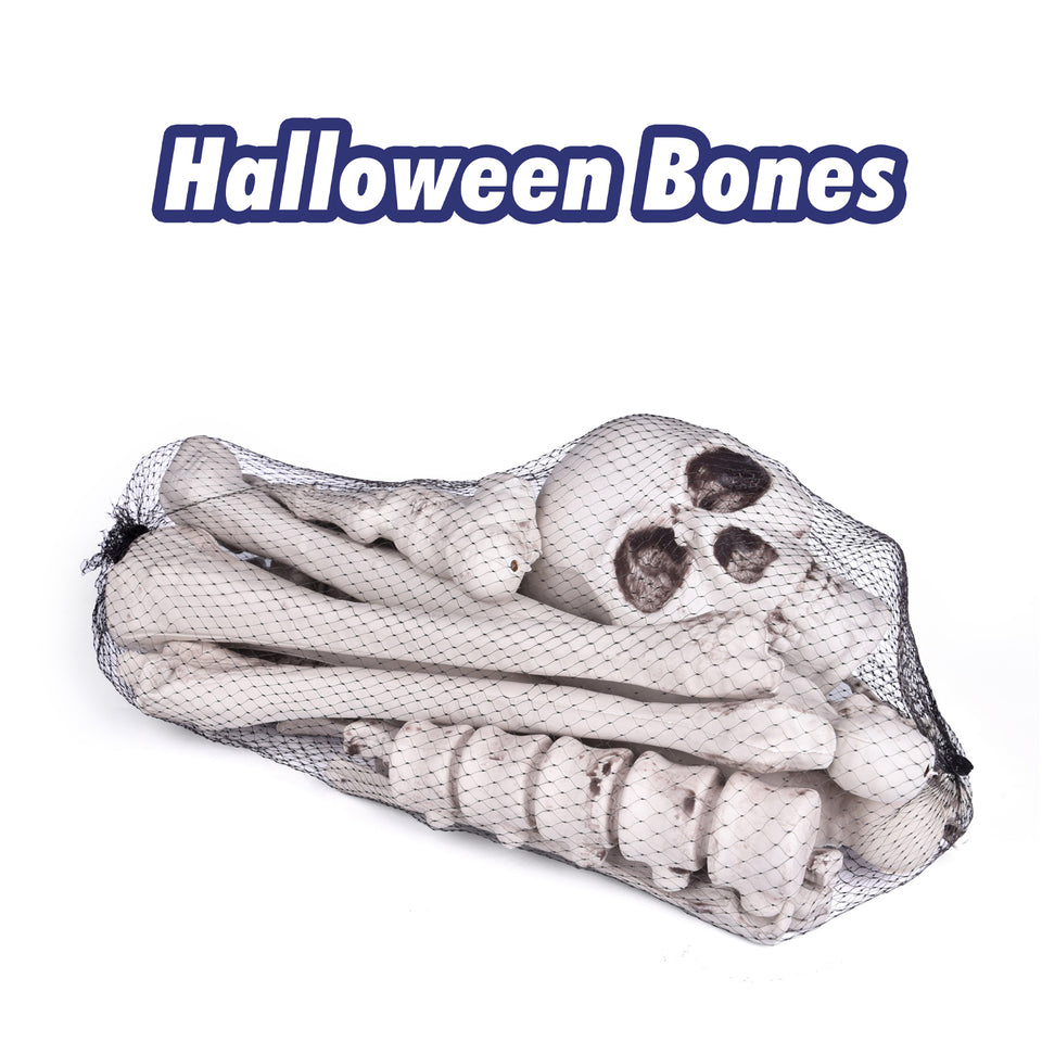 18 PCs Halloween Bag of Skeleton Bones and Skull