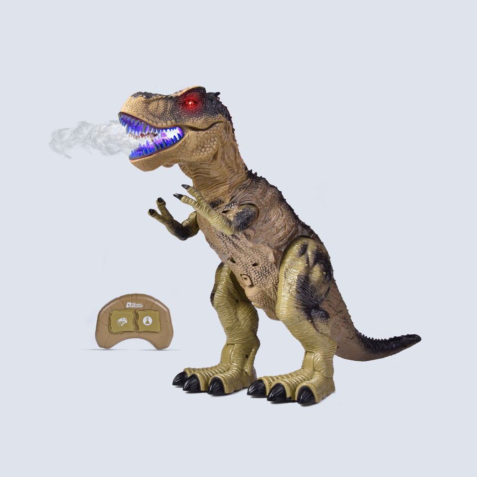 "Remote Control Dinosaur for Kids, Electronic Walking & Spray Mist Large Dinosaur Toys with Glowing Eyes, Roaring Dinosaur Sound, 18.5"" Realistic T-Rex Toy for Boys, Green"