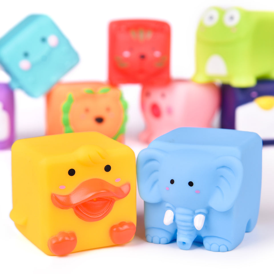 Kids Bath Toys, Soft Cube Bath Squirters, Squeeze Water Toys Building Blocks for Kids, 12 Pieces