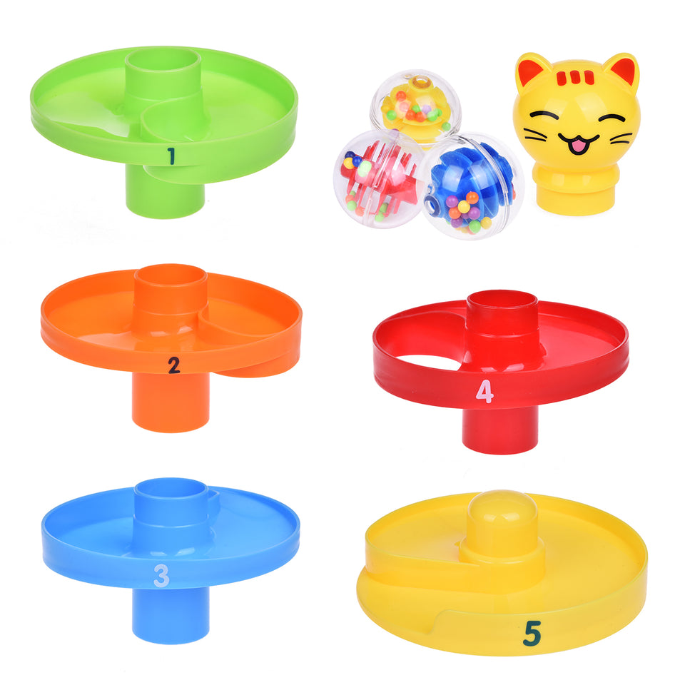 Cat Ball Drop Toys for Baby and Toddler, Learning Tower, Drop and Go Ramp Toys, Baby Activity Center Educational Toys