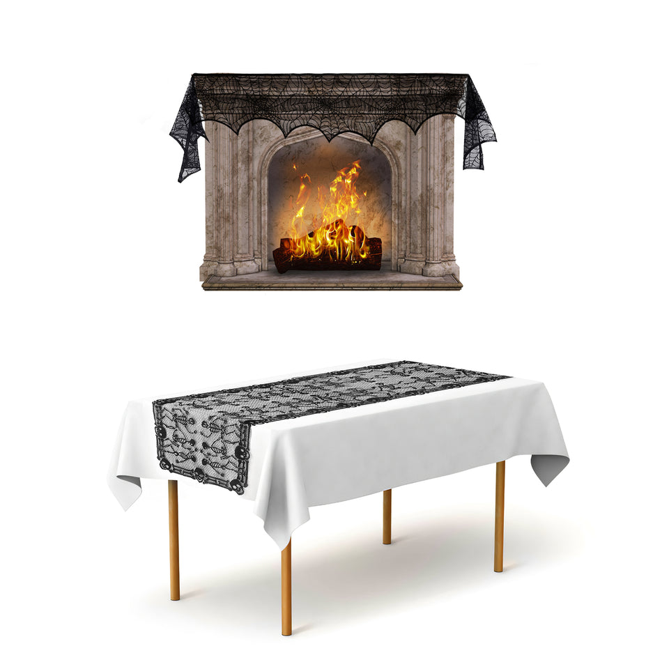 2 Pack Black Skull Table Runner 80 x 40 Inch, Spider Web Fireplace Mantle 100 x 17 Inch for Halloween Decorations Scary Movie Nights