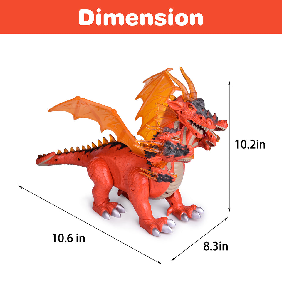 "10"" Dragon Toys for Boys and Girls, 7 Headed Walking Toy Dragon Figure with Lights and Sounds, Birthday Gifts for Kids"