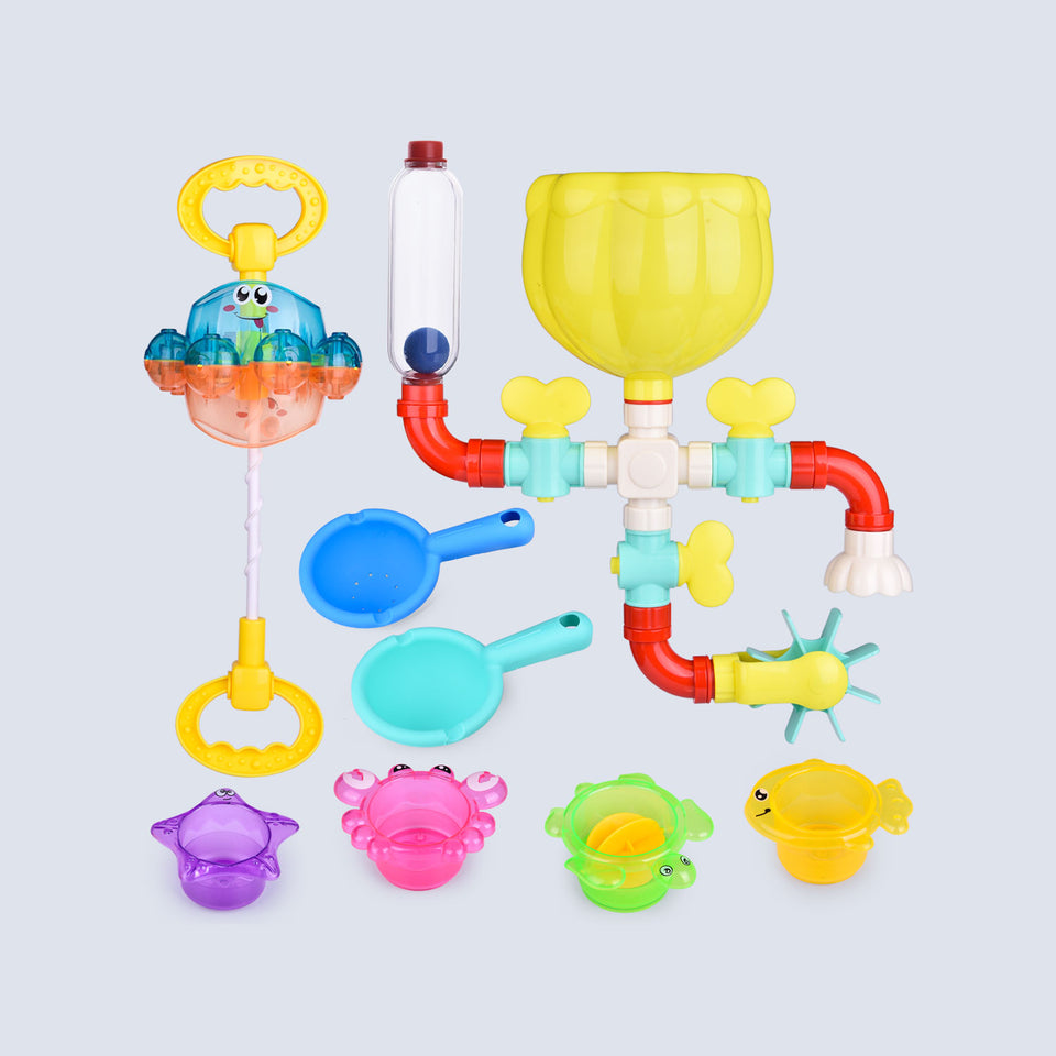 12 PCs Bath Toys for Toddler, Flower Water Station, Bath Squirters, Stacking Cups, Rotating Spray Water Toy, Birthday Gifts for Kids