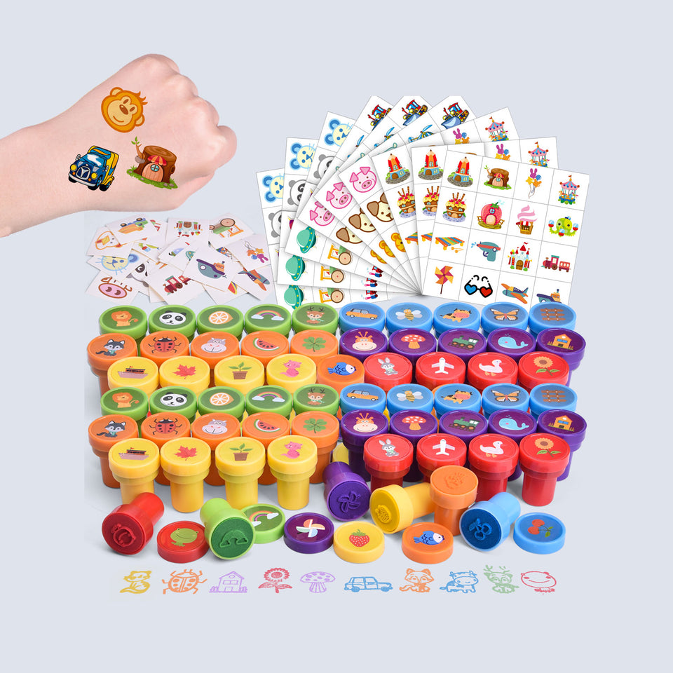212 Pcs Assorted Stamps & Stickers Set for Kids Including 68 Pieces Self-Ink Stamps and 144 Pieces Stickers for Kids Party Favors