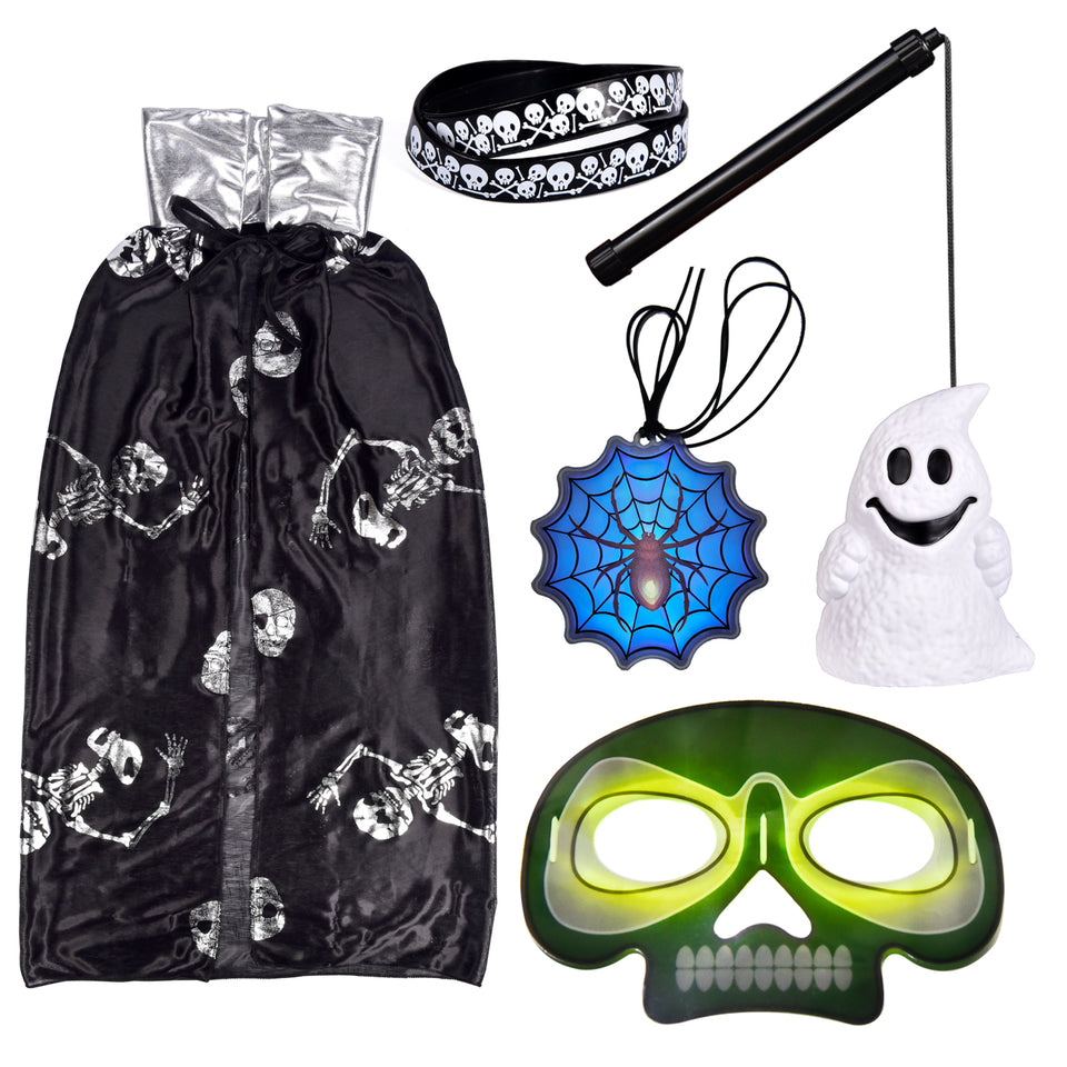 Kids Halloween Costumes with Ghost Cloak, Lantern, Bracelets, Glow Sticker Necklace, Glow Halloween Mask
