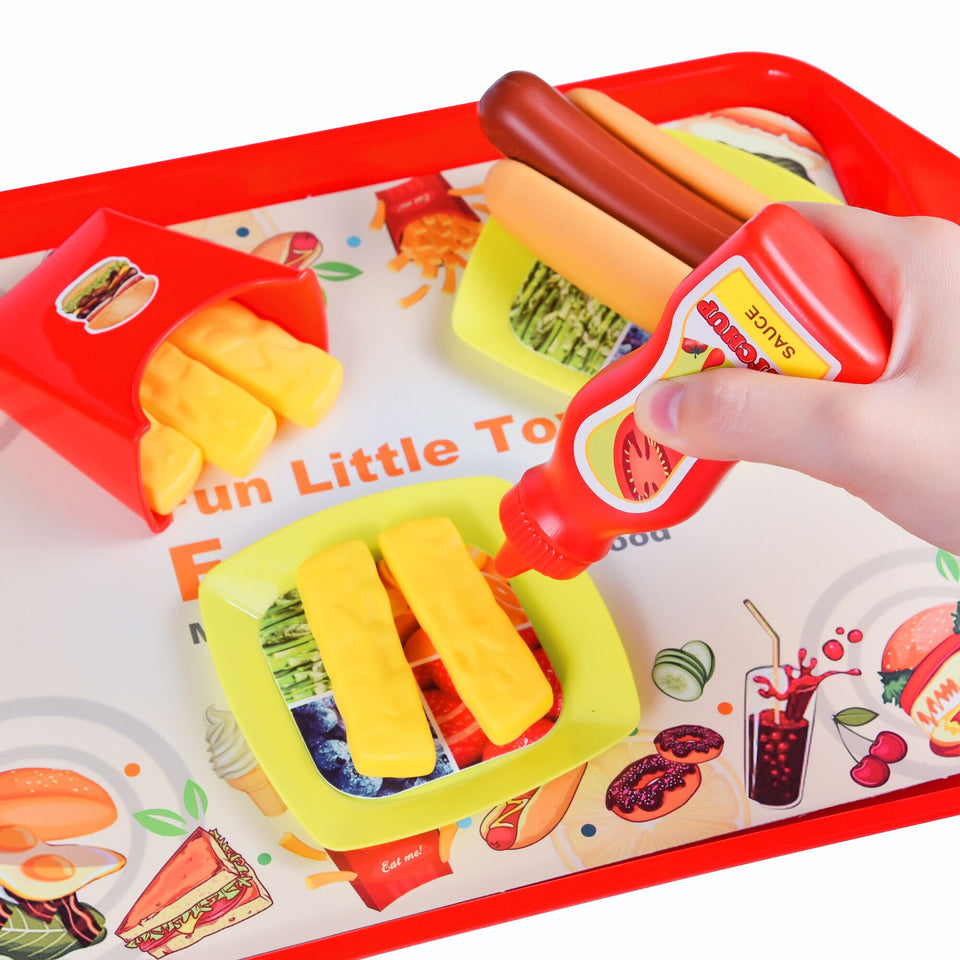 40 PCs Play Food for Kids Kitchen, Play Kitchen Accessories, Toy Foods with Cutting Fruits and Fast Food for Pretend Play