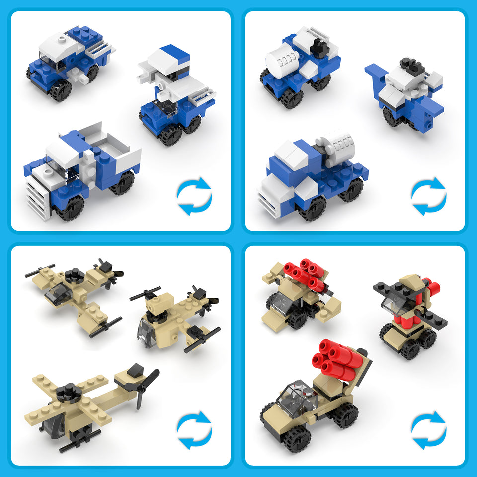 Mini Military Building Blocks Sets, 12 Boxes