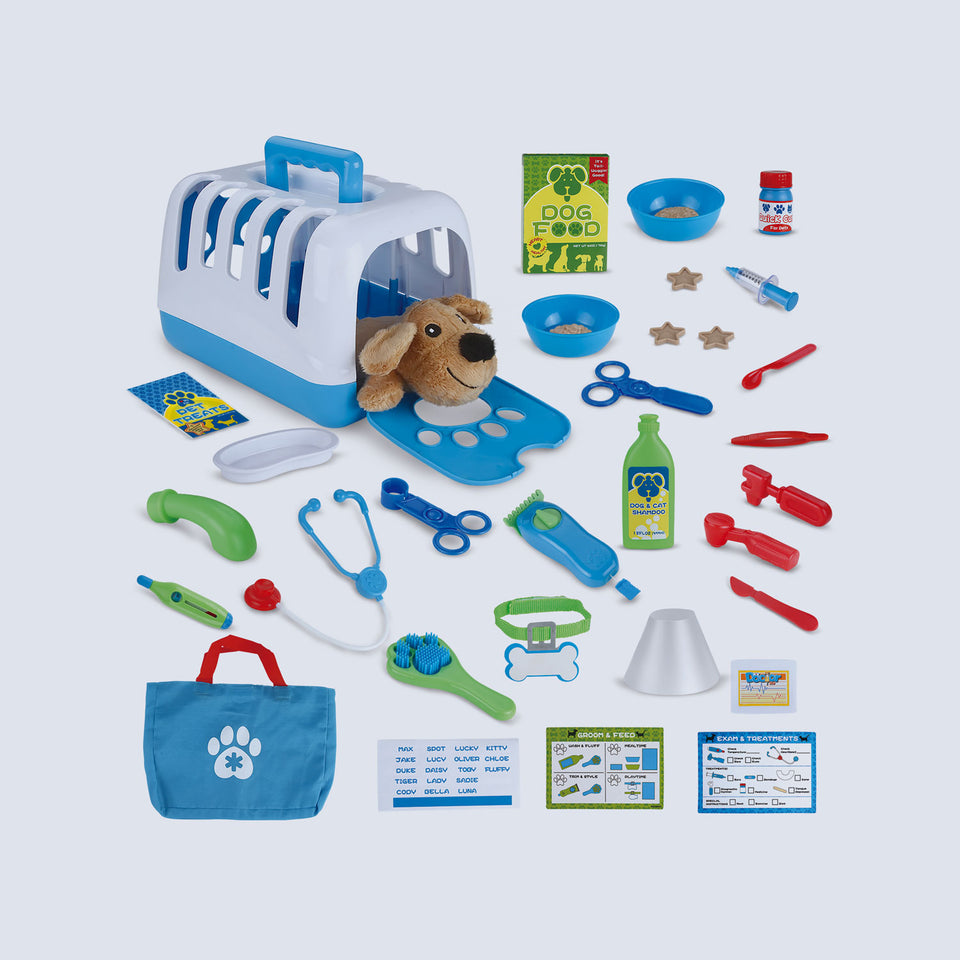 34 PCs Pet Care Play Set, Vet Clinic and Cage Doctor Kit for Kids, Pet Veterinarian Playset