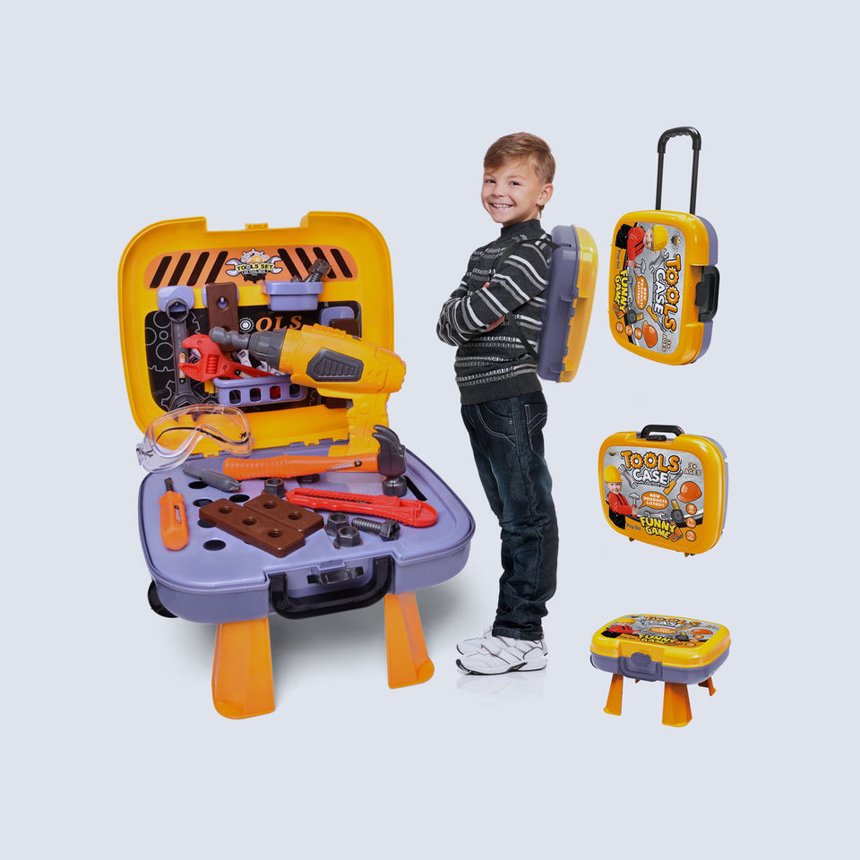 Kids Tool Sets with Electronic Cordless Drill, 36 Pieces Toy Tool Construction Set with Box Trolley, Pretend Play Tool Kit for Toddlers