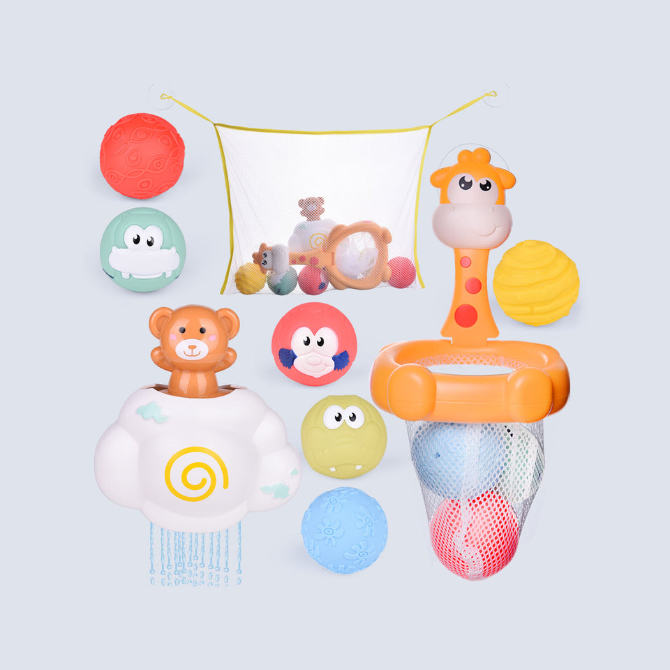 Toddler Bath Toys, Basketball Hoop Set for Kids with 6 Cute Soft Bath Balls, 1 Cloud Water Toy and 1 Organizer