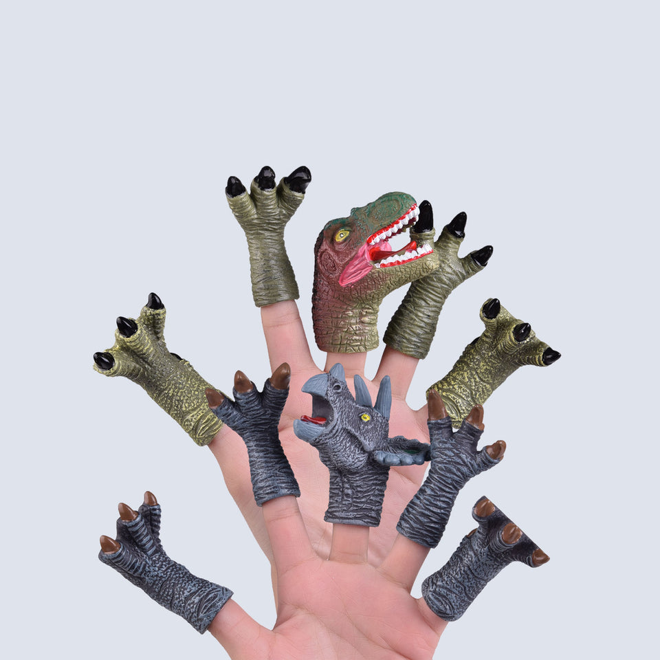 10 PCs Animal Bath Finger Puppets, Dinosaur Figure Finger Toys, Best Choice for Kids Party Favors, Treasure Box Prizes, Pinata Fillers and Goodie Bag Fillers