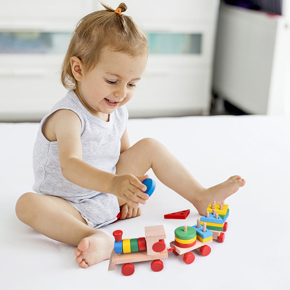 15.5 Inches Wooden Train Toddler Toys, Shape Sorter and Stacking Wooden Blocks, Wooden Toys, Puzzle Toys Preschool Educational Toys