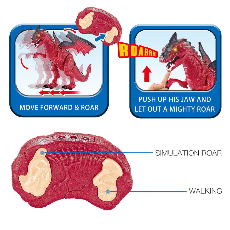 "Remote Control Dinosaur Toys, 17"" x 10.6"" Electronic Walking Touch RC Dragon Toy for Kids with Lights and Sounds, Birthday Gifts for Kids"