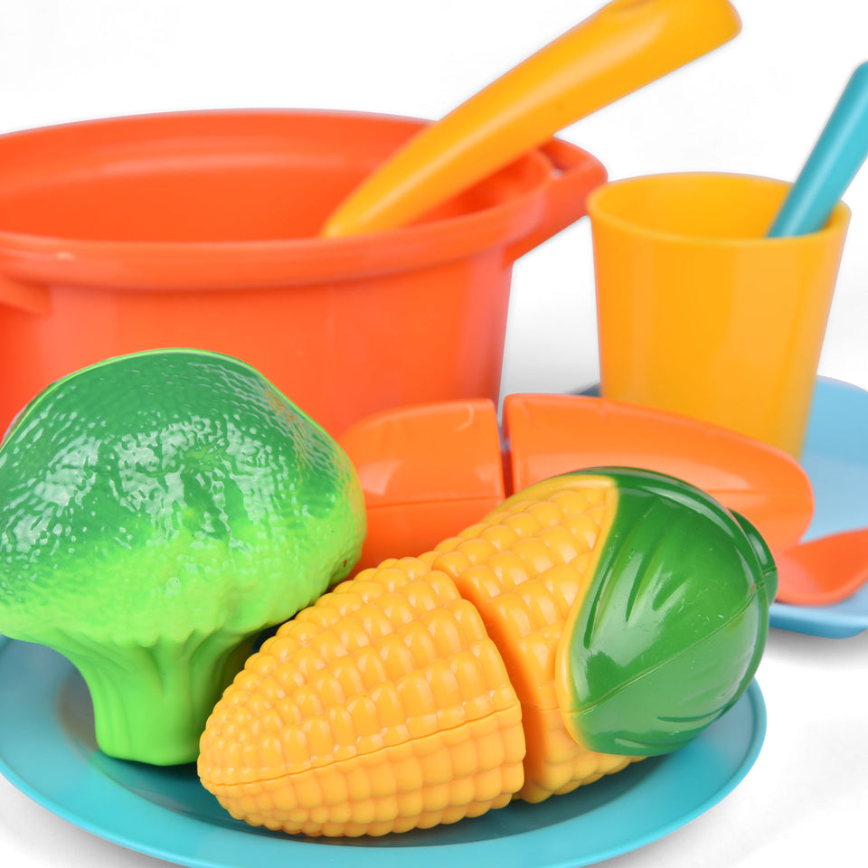 Kitchen Pretend Play Accessory Toy Set, Toy Food Play Food for Kids Kitchen Including Pots, Pans & Pretend Food