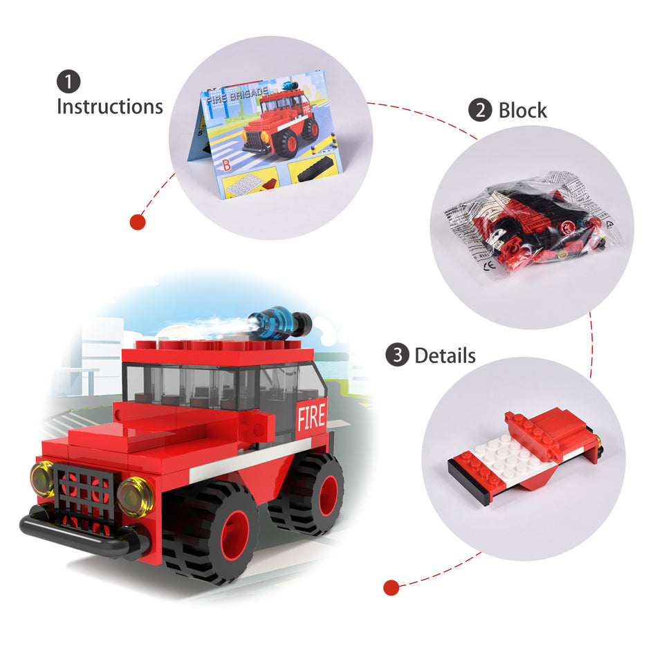 222Pcs Fire Rescue Vehicles Building Blocks Set in 12 Different Models Including Fire Boat,Helicopters and Fire Truck for Kids Party Favors