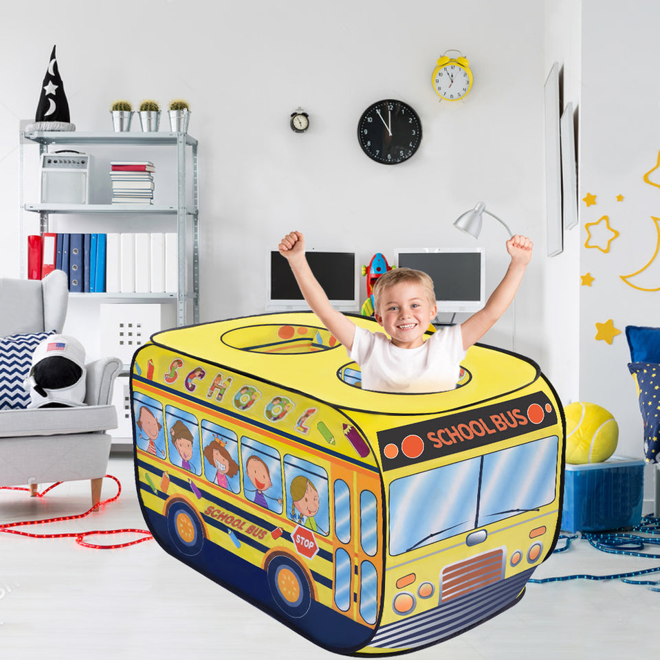 School Bus Pop Up Play Tent for Kids with School Backpack, Kids Tent for Indoor & Outdoor