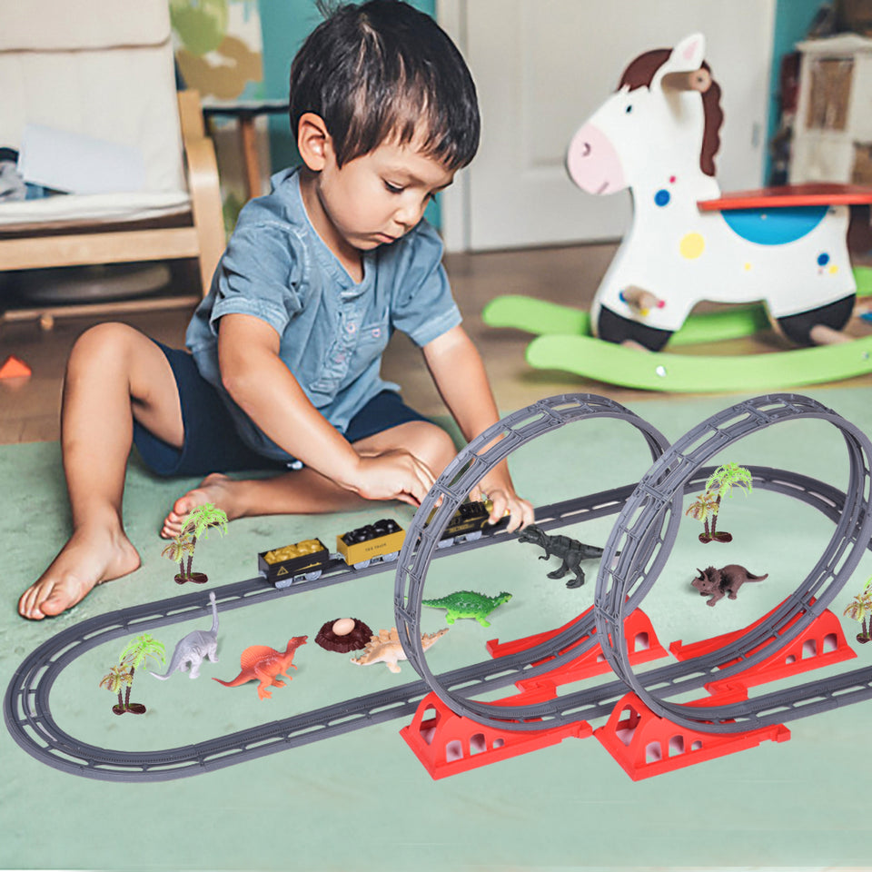 Train Set with 46 Tracks, 1 Toy Train, 6 Dinosaur Toys, 6 Trees, 1 Dinosaur Egg and 1 Nest, Batteries Operated Toy Train Set with Light and Sound, Xmas Gifts for Boys & Girls, 61 Piece