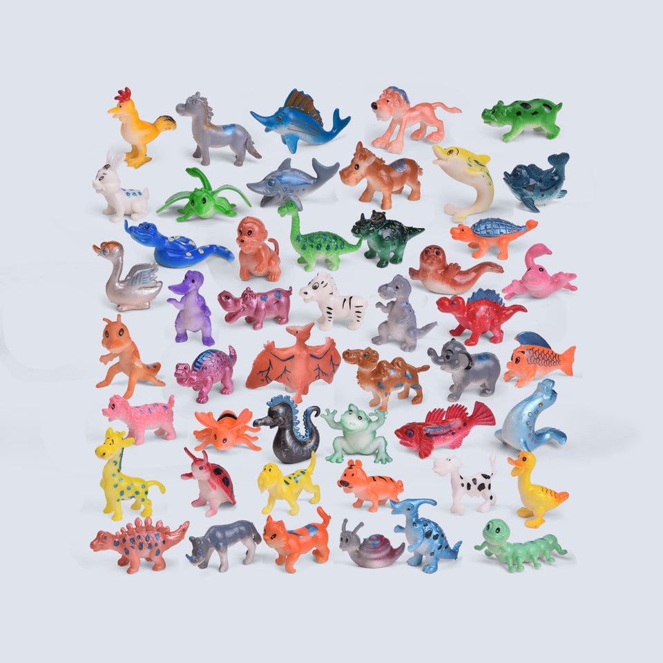 48 Pieces Assorted Mini Animals Figures, Plastic Mini Educational Jungle Animal Toys, Multi-Color
