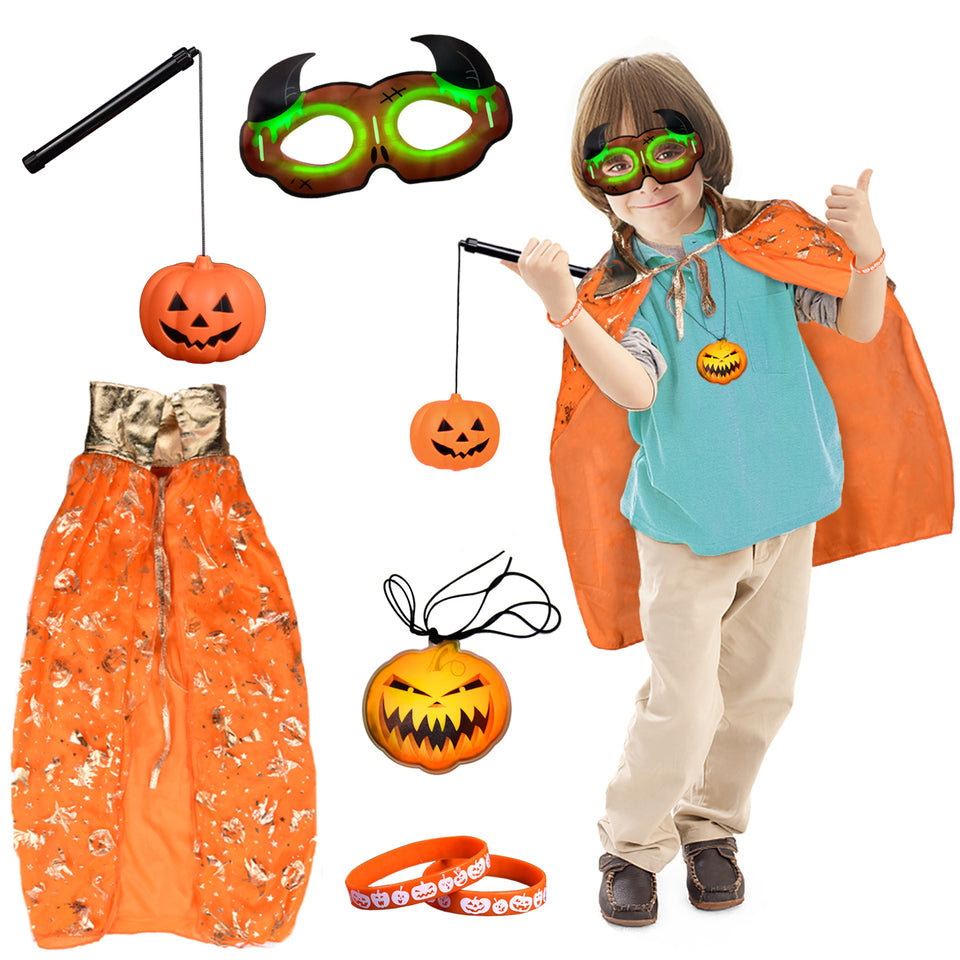 Christmas Pumpkin Costume with Jack O' Lantern Pumpkin Suit Party Clothes for Kids, Xmas Gifts Orange