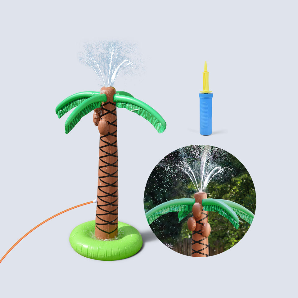 Sprinkler Water Toys for Kids, Inflatable Palm Tree Outdoor Toys, Backyard Water Games for 2-12 Year Old Boys & Girls