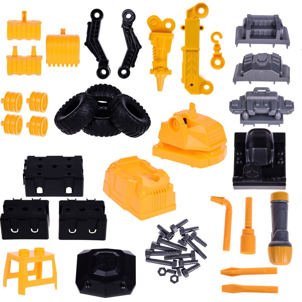 4 in 1 Take Apart Toy Trucks for Kids, 51 PCs Construction Vehicles with Screwdriver, Sandbox Toys Outside Toys STEM Learning Toys for Kids