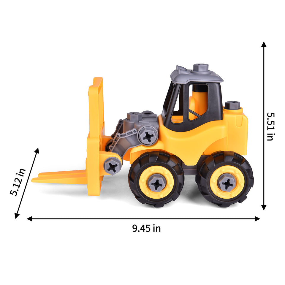 Take Apart Construction Toys for Kids, 4-in-1 Construction Playset with Construction Vehicles & Engineering Transporter, Construction Party Supplies for Boys