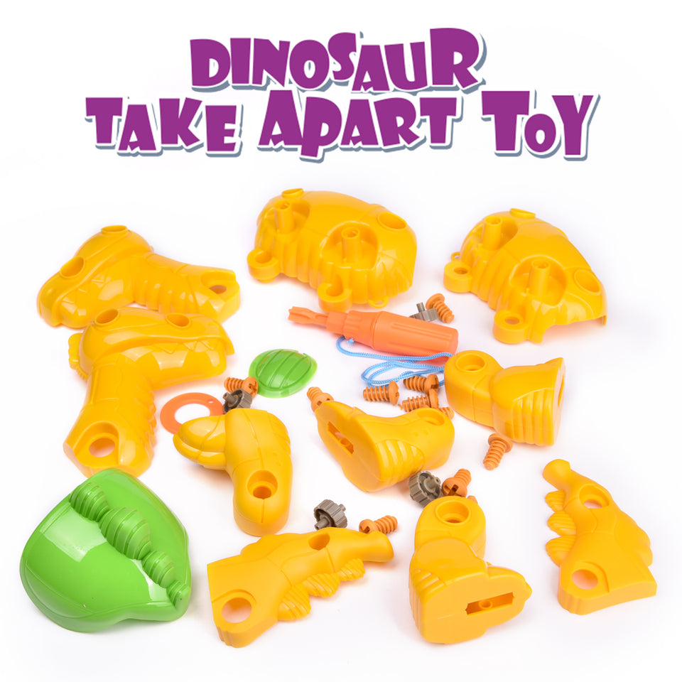 4 Pack Take Apart Dinosaur Toys, 9 Inch Toy Dinosaurs Building Sets for Kids Birthday Gifts