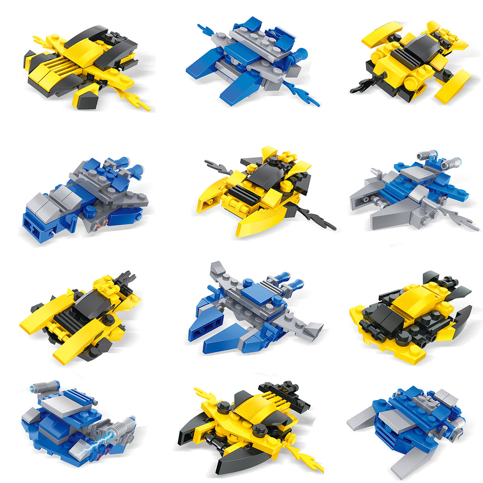 12 Boxes Mini Building Blocks Sets Spaceship building blocks