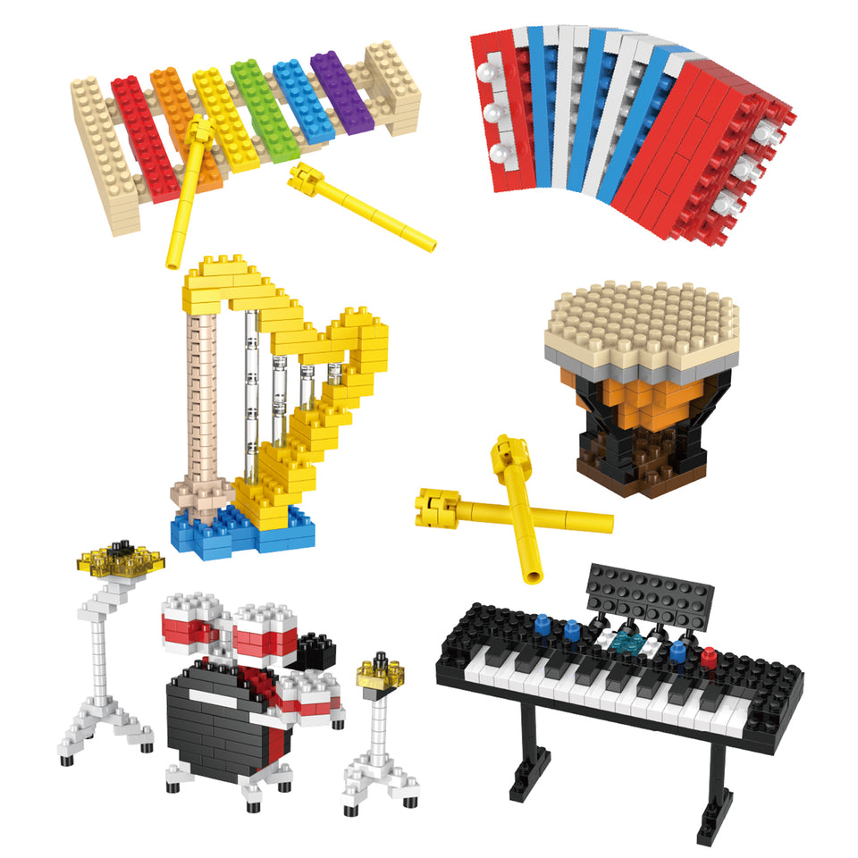 12 Boxes Mini Music Building Blocks, Musical Instruments Set