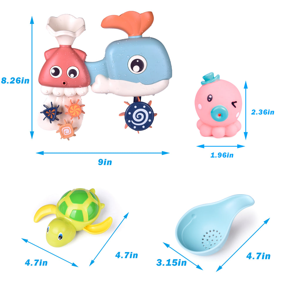 8 PCs Bath Toys for Toddler with Waterfall Station, Bath Squirters, Wind Up Bath Toy and Bath Cups, Birthday Gifts for Boys and Girls
