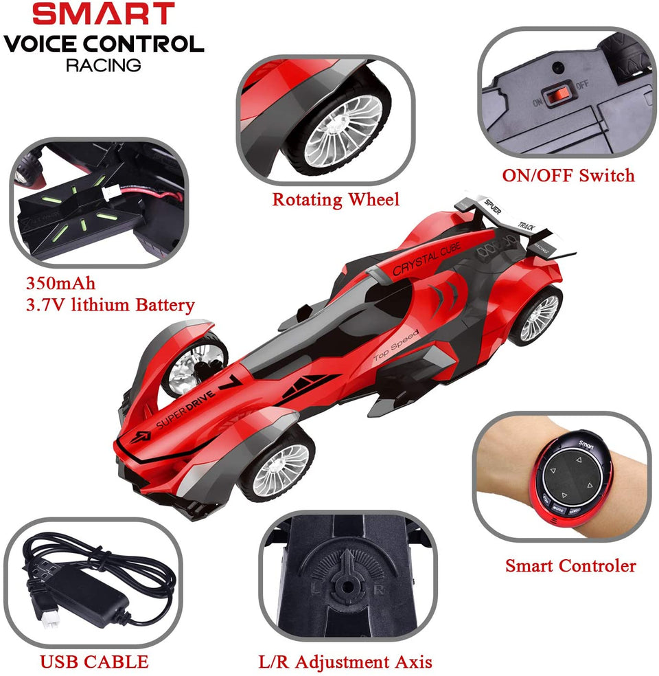Remote Control Car, High Speed Racing Car with USB Charger, Multi Function & LED Light, Smart Watch Voice Command Remote Control Car