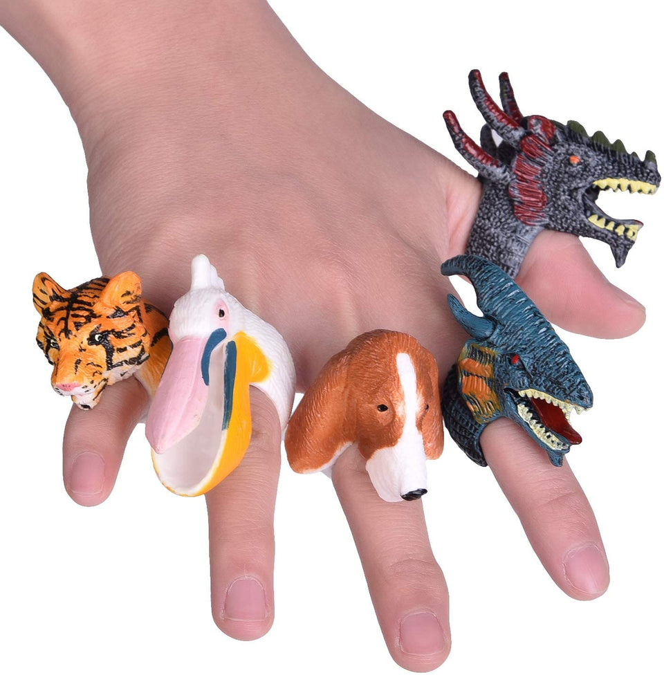 Hand Painted Animal Rings for Kids Party Favors - 24 Pieces