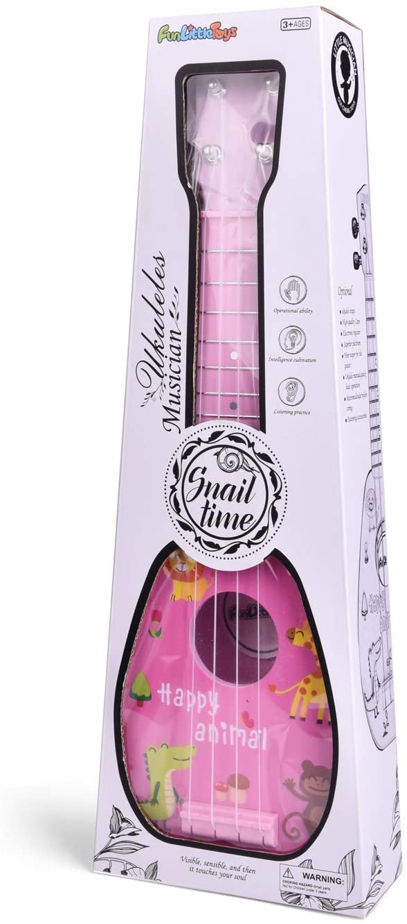 17 Inch Ukulele for Kids, Musical Instruments for Kids with Strap, Picks and Tutorial, Learning Educational Toys for Boys and Girls (Pink)