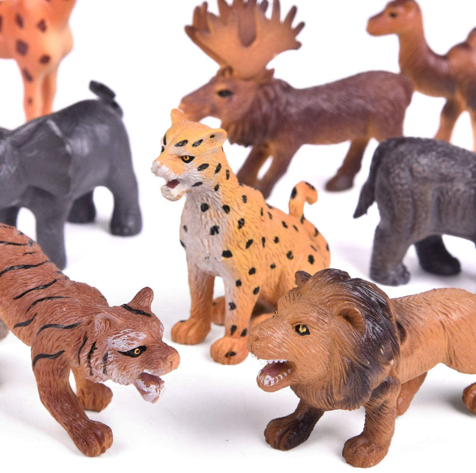 Wild Animal Figures Set, Realistic Animal Toys for Kids 3+, 12 Pieces