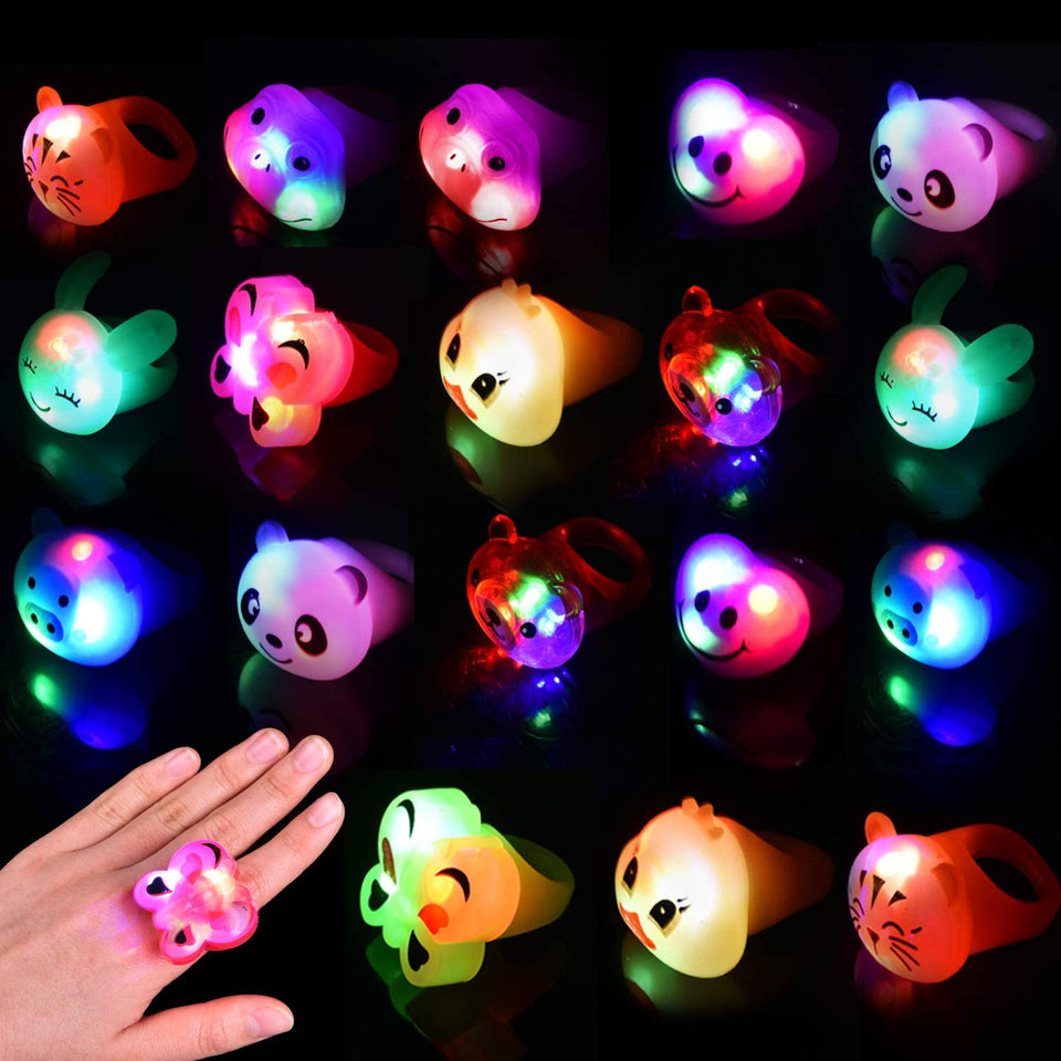 Light-Up Rings Flashing Party Toys for Kids Led Party Favors, 18 Pack