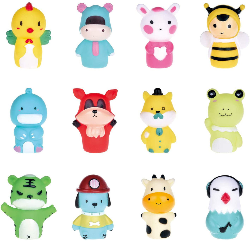 "12 Pieces Animal Finger Puppets, 2.56"" Bath Finger Puppets Set for Kids, Great Gift for Girls and Boys Party Favors, Goodie Bags Fillers, Classroom Prizes, Pinata Fillers"