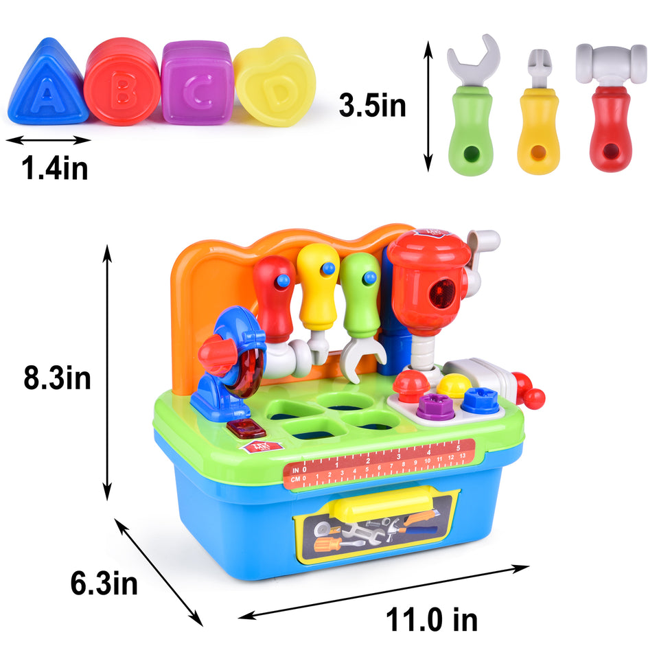 Workbench and Construction Toy Tool Kit with Sound and Music, Baby Tool Set with Shape Sorter