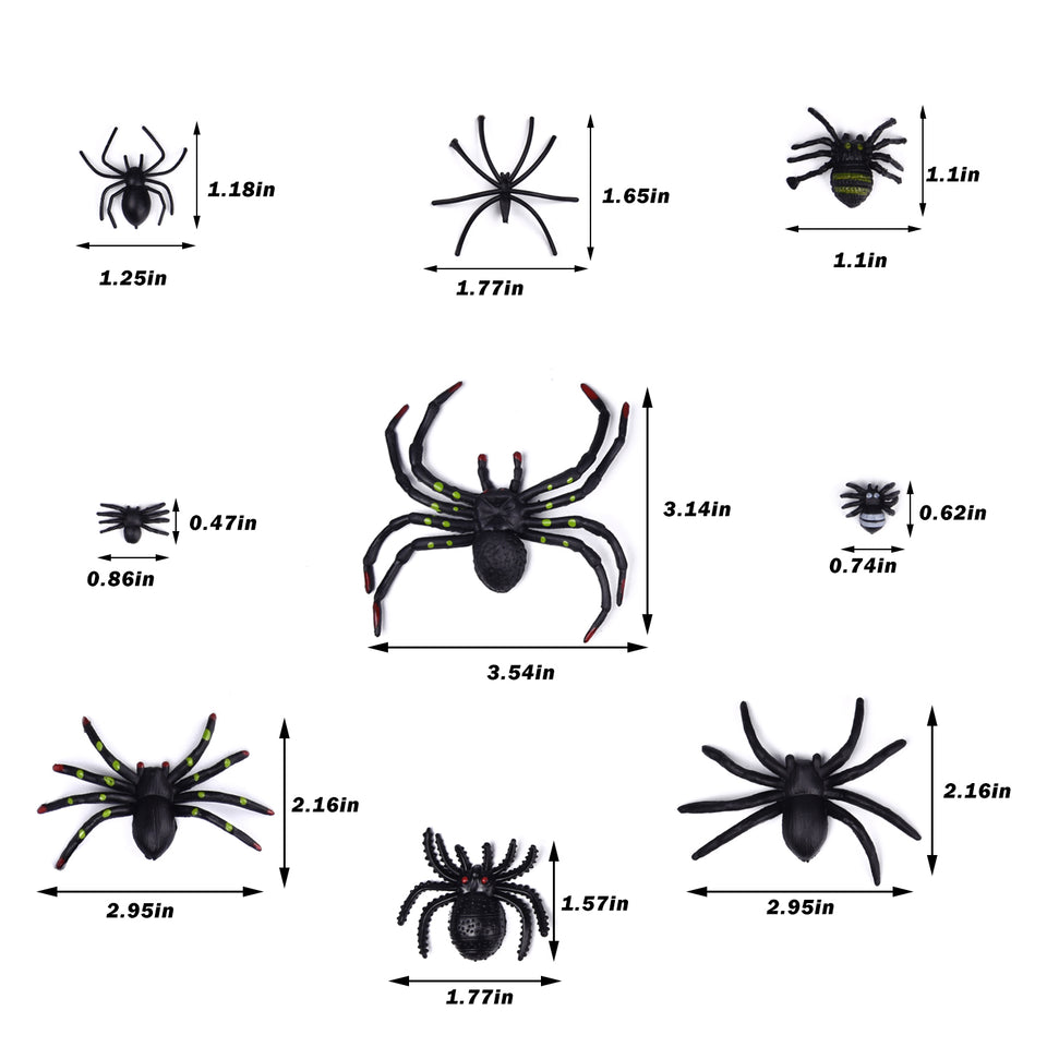 3 Pack Halloween Spider Web with 69 PCs Plastic Spiders