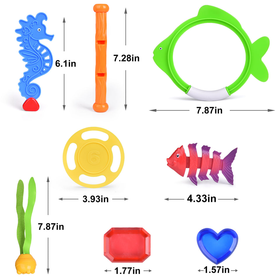 27 PCs Diving Pool Toys Underwater Swimming Pool Toys Set, Pool Party Favors for Kids