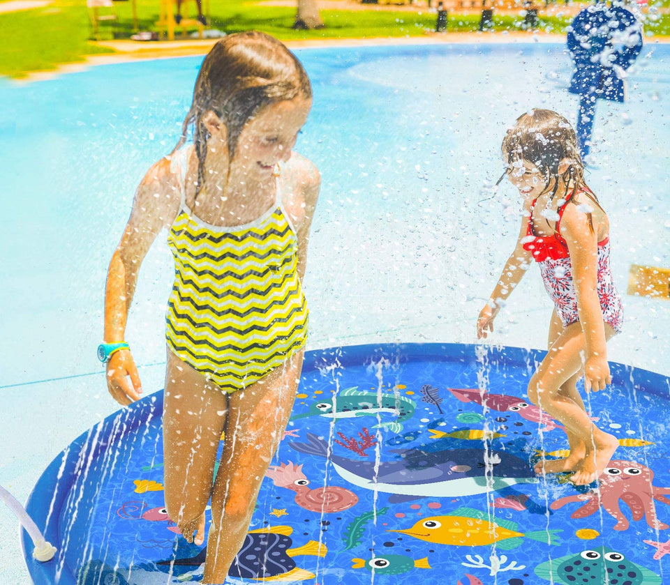 Sea Animal Inflatable Splash Sprinkler Pad for Kids, 66'' Water Toy for Summer Outdoor Swimming Pool, 2-12 Year Old Boys & Girls Toys