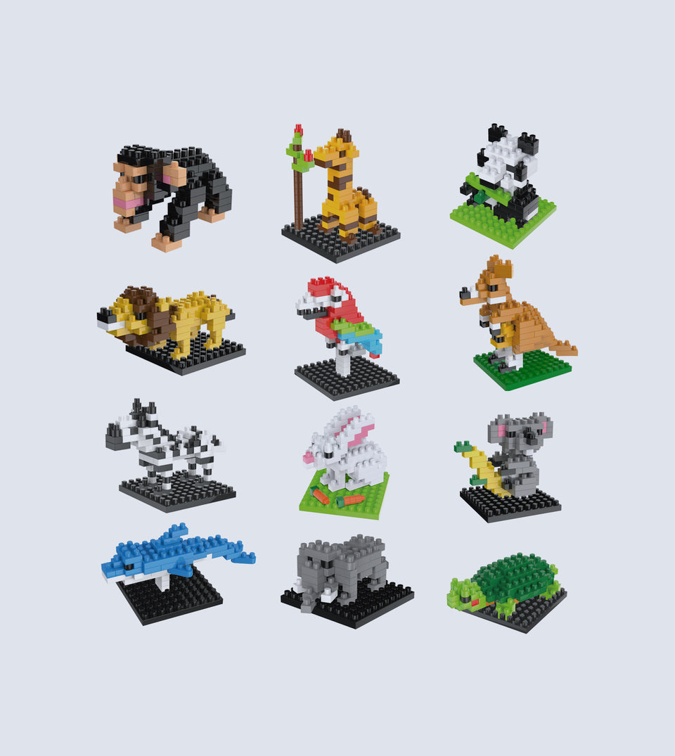 Mini Animals Building Blocks Sets , 12 Boxes