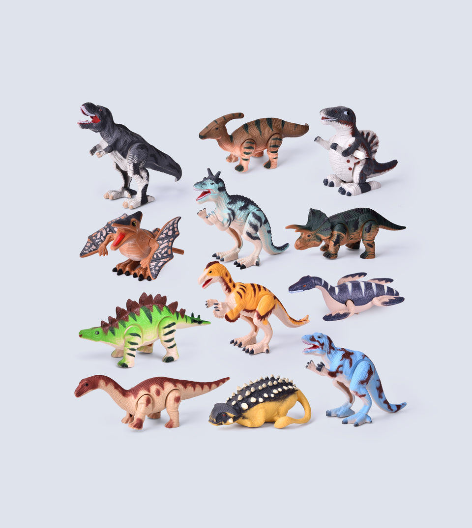 12 Pieces Assorted Wind Up Dinosaur Toys