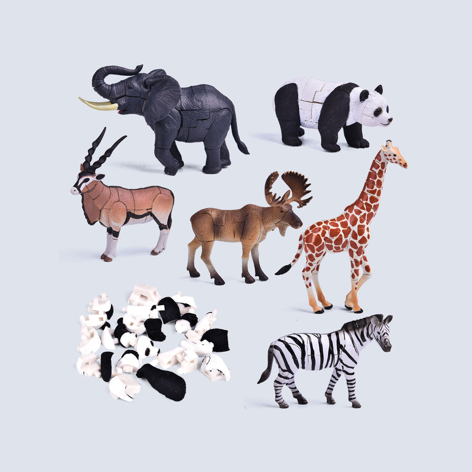 6 Pack Animal 3D Puzzles, Animal Figures, Kids Crafts Building Toy Figures for Birthday Party Favors, Kids Prizes, Googie Bags