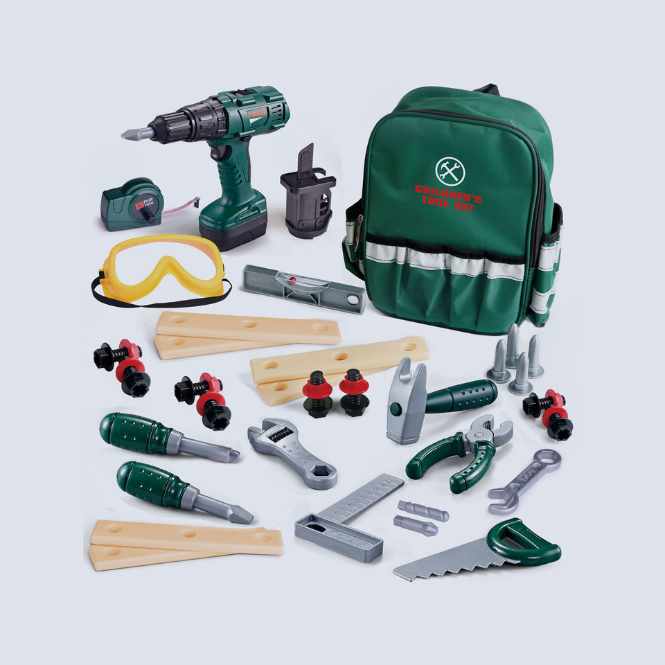 35 Pieces Kids Tool Set, Including Electronic Cordless Drill, Pretend Play Toy Tool Accessories and a Sturdy Tool Bag