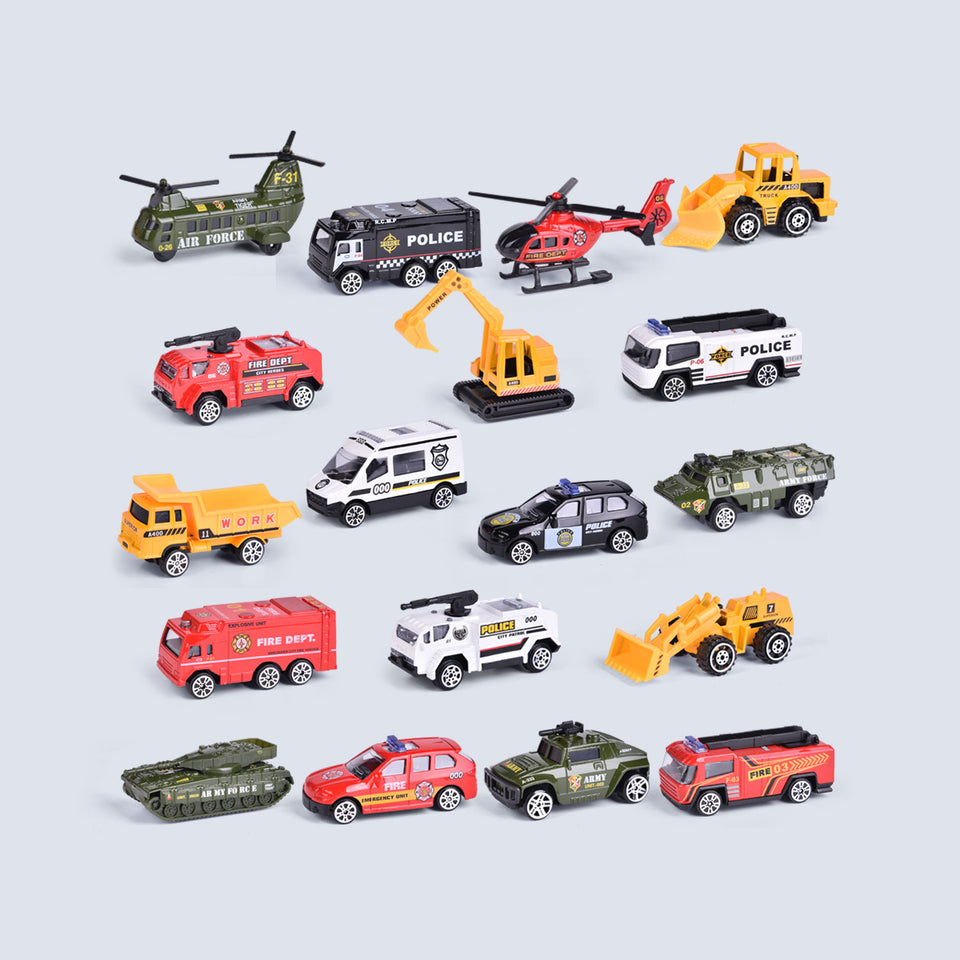 18 Pcs Die-cast Cars Toy Vehicles for Party Favors, Goodie Bags Fillers, Classroom Prizes, Pinata Fillers