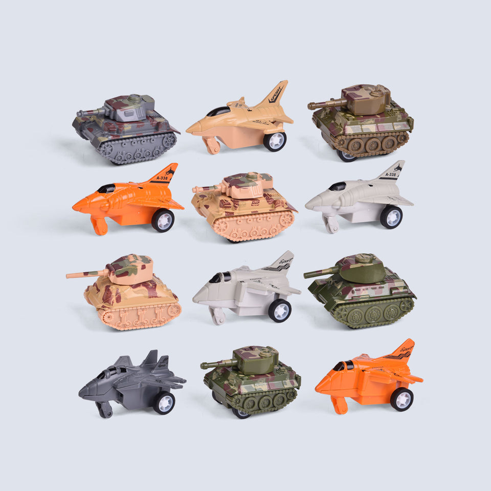 12 PCs Army Toys and Pull Back Airplane Toys for Party Favors, Goodie Bags Fillers, Classroom Prizes, Pinata Fillers