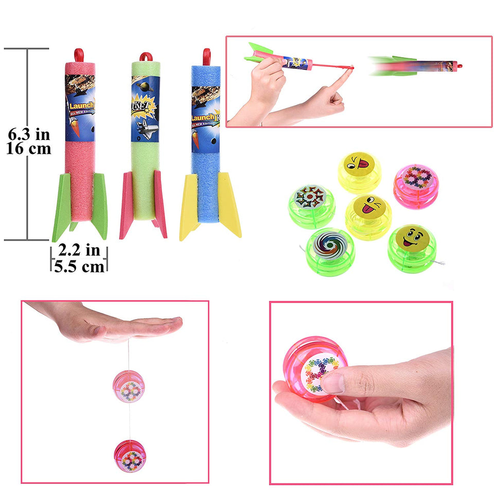 100PCs Assortment Mini Toys Party Favor Boxes Including Slap Bracelets, Mini Cameras,Stamps,Yo-Yos and More for Goody Bags Fillers, Pinata Toys, Kids Party Favors