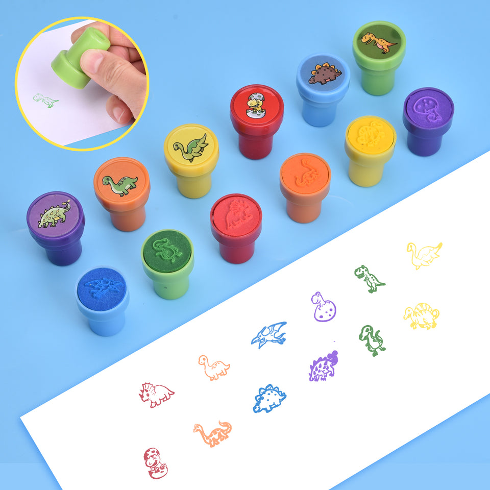 174 Pcs Dinosaur Stamps Set Including Stamps, Stickers, Tattoos, and Dinosaur Figures for Kids Party Favors, Goodie Bag Fillers, Teacher Stamps