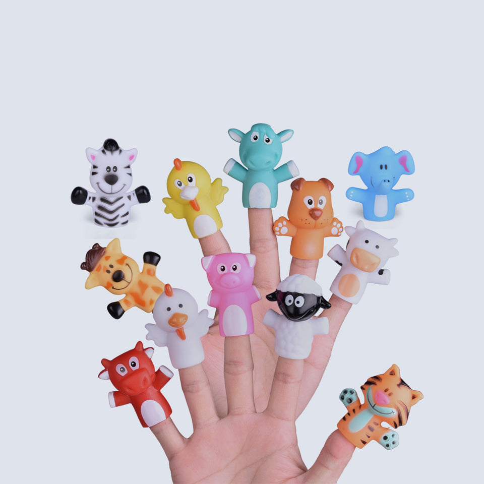 "12 PCs Animal Finger Puppets, 2.17"" Bath Finger Puppets for Todders, Great Gift for Girls and Boys for Party Favors, Goodie Bags Fillers, Classroom Prizes, Pinata Fillers"
